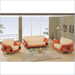 Global Furniture USA Charles 3 Piece Leather Sofa Set in Beige