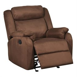 Global Furniture USA Microfiber Glider Recliner in Chocolate