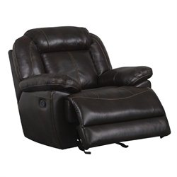 Global Furniture USA Faux Leather Glider Recliner in Brown