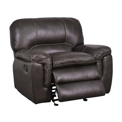 Global Furniture USA Leather Glider Recliner in Gin Rummy