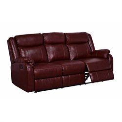 Global Furniture USA Faux Leather Reclining Sofa in Burgundy