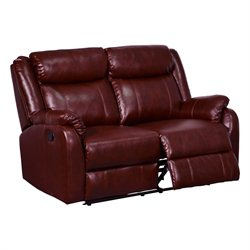 Global Furniture USA Faux Leather Reclining Loveseat in Burgundy