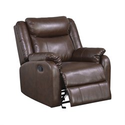 Global Furniture USA Leather Glider Recliner in Brown