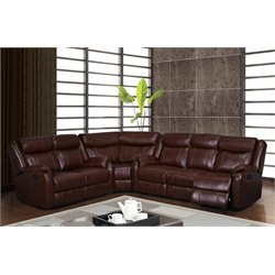 Global Furniture USA 3 Piece Leather Sectional in Brown