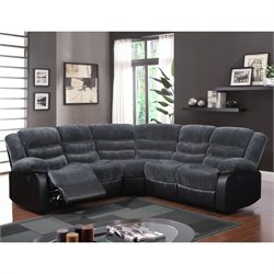 Global Furniture USA 3 Piece Plush Sectional in Gray Thunder