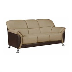 Global Furniture USA Faux Leather Sofa in Cappuccino