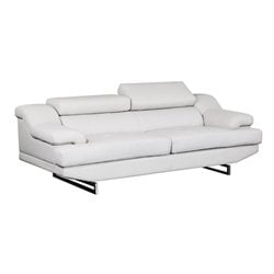 Global Furniture USA Natalie Leather Sofa in Gray