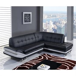 Global Furniture USA 2 Piece Natalie Leather Sectional in Black