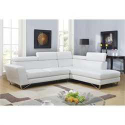 Global Furniture USA 2 Piece Leather Sectional in White