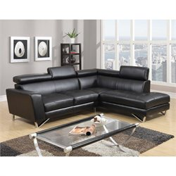 Global Furniture USA 2 Piece Leather Sectional in Black