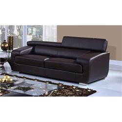 Global Furniture Natalie Leather Sofa with Headrest in Chocolate