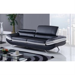 Global Furniture Natalie Sofa with Headrest in Black and Light Gray