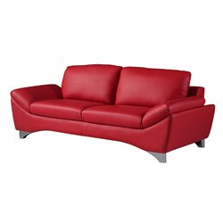 Global Furniture USA Natalie Leather Sofa in Red