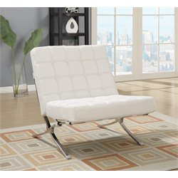 Global Furniture Natalie Bonded Leather Accent Chair in White