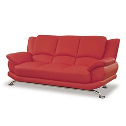 Global Furniture USA Leather Sofa in Red