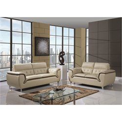 Global Furniture USA Natalie 2 Piece Leather Sofa Set in Khakhi