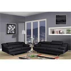 Global Furniture USA Natalie 2 Piece Leather Sofa Set in Black
