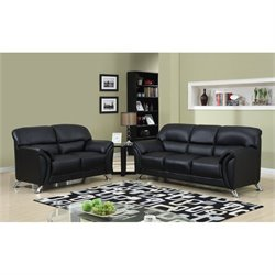 Global Furniture USA 2 Piece Faux Leather Sofa Set in Black and Chrome