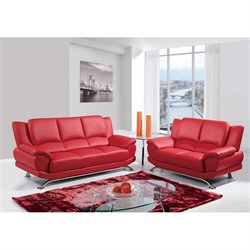Global Furniture USA 4 Piece Leather Sofa Set in Red