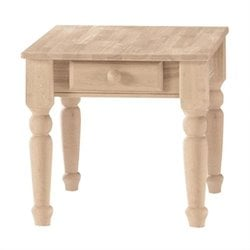 International Concepts Traditional Unfinished End Table with Drawer