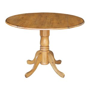 Round Drop Leaf Pedestal Dining Table in Pecan