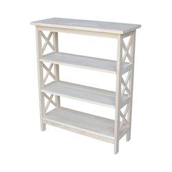 International Concepts Unfinished Wood X-Sided 3 Shelf Open Bookcase