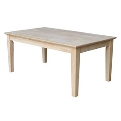 International Concepts Whitewood Tall Shaker Unfinished Coffee Table in Natural