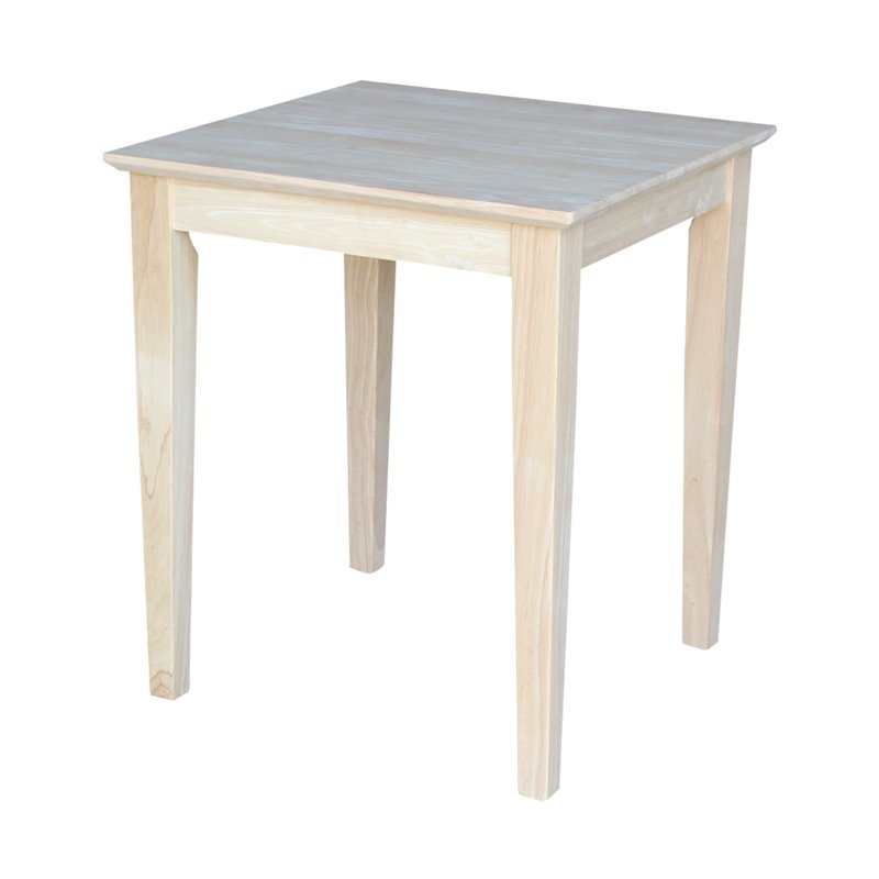 Whitewood Tall Shaker Unfinished End Table