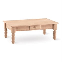 International Concepts Traditional Unfinished Wood Coffee Table