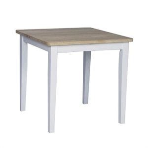 Square Casual Dining Table in White and Natural Finish