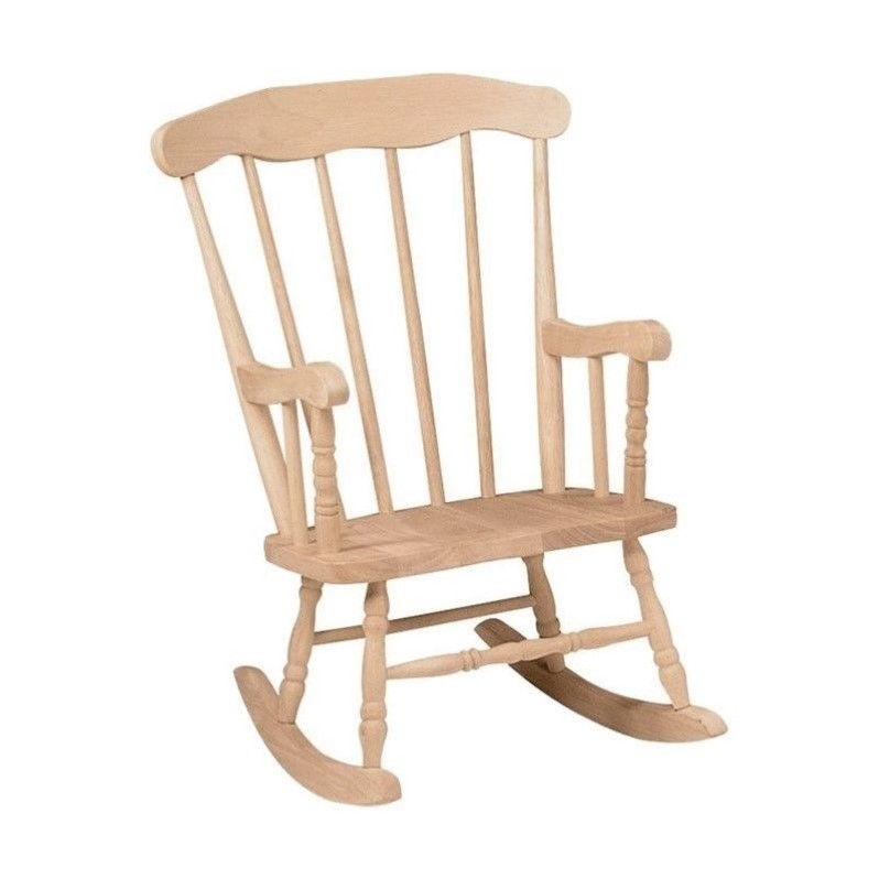 International Concepts Boston Unfinished Wooden Rocking Chair