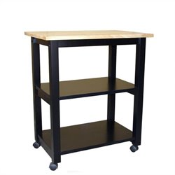 Microwave Cart in Black/Natural