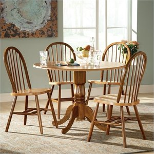 5 Piece Round Dining Set in Cinnamon/Espresso