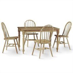 5 Piece Solid Wood Dining Set in Natural