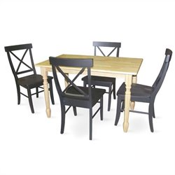 International Concepts 5 Piece Solid Wood Dining Set in Natural/Black