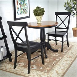 3 Piece Dining Set in Black and Soft Cherry