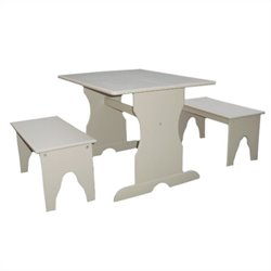 International Concepts Table with 2 Benches in Linen White
