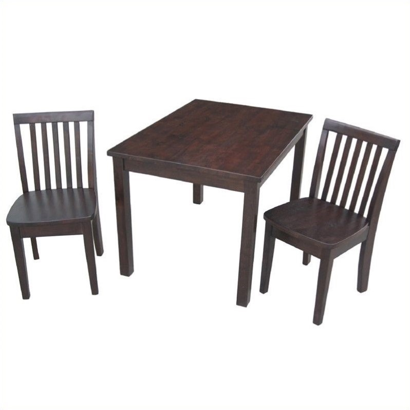 3 Piece Mission Table Set in Rich Mocha