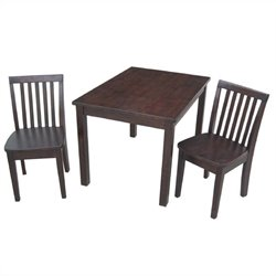 International Concepts 3 Piece Mission Table Set in Rich Mocha