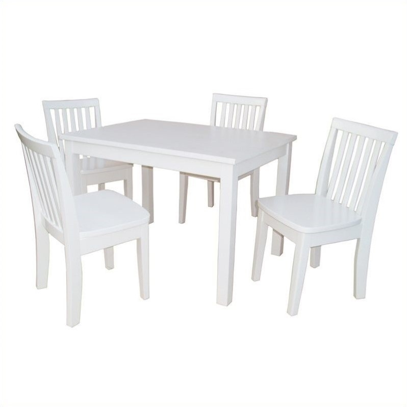 International Concepts 5 Piece Mission Table Set in Linen White