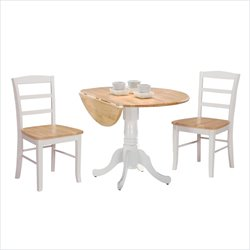 International Concepts 3 Piece Dual Drop Dining Set in White/Natural