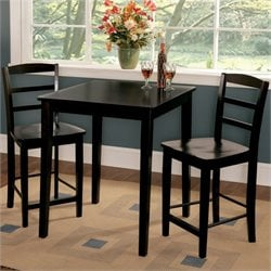 3 Piece Gathering Height Dinette Set in Black