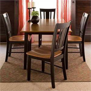 5 Piece Dining Set in Black and Soft Cherry