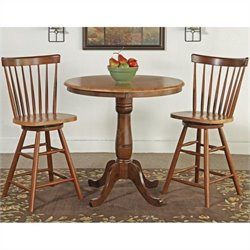 International Concepts 3 Piece Round Dining Set in Cinnamon/Espresso