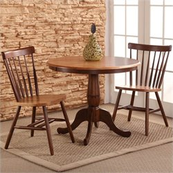 3 Piece Ped. Dining Set in Cinnamon/Espresso