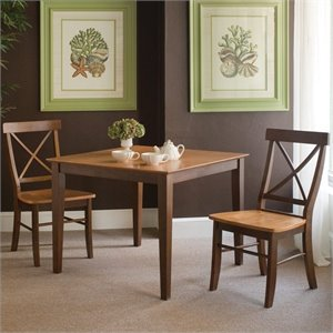 3 Piece X-Back Dining Set in Cinnamon/Espresso