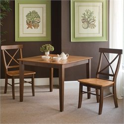 International Concepts 3 Piece X-Back Dining Set in Cinnamon/Espresso
