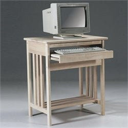 International Concepts Unfinished Mission Wood Computer Cart