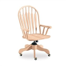 International Concepts Unfinished Steambent Windsor Arm Desk Chair