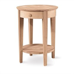 International Concepts Unfinished Accent Table with One Drawer